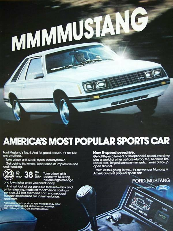 1980 White Mustang Most Popular Sports Car Ad | EBay