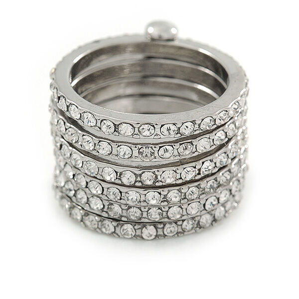 Silver Plated Clear Crystal Stacking/ Stackable Band Ring - size 8