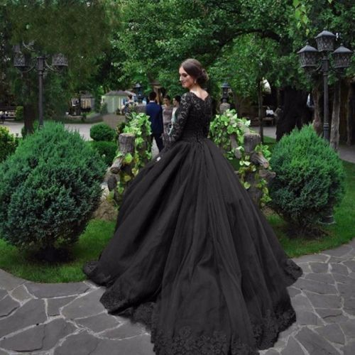 White Wedding Dress Gothic: Gothic Black Lace Wedding Dress Long Ball Gown Bridal Gown