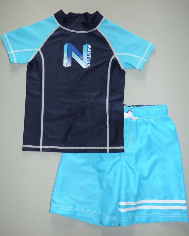 ce17b5e37d Details about NAUTICA® Boys' XL(7X)Turquoise Colorblock 2-Piece Rashguard  Swim Set NWT
