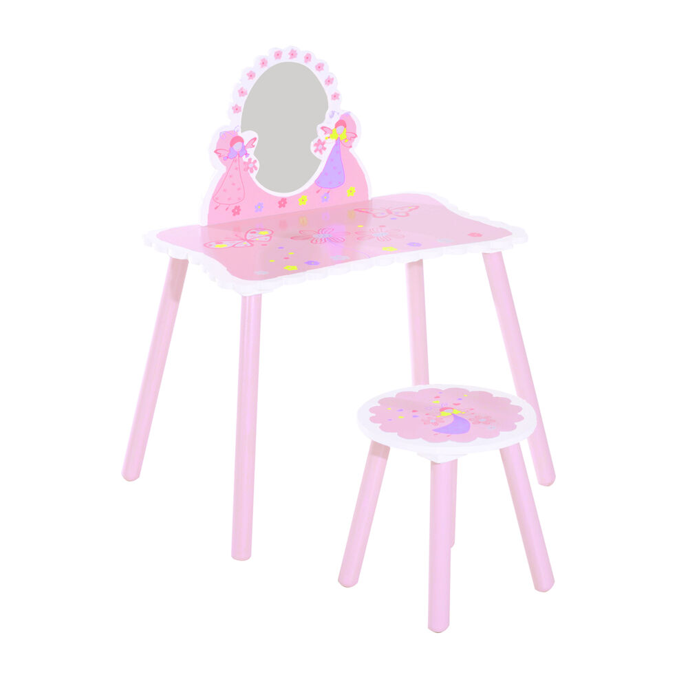 Hoomcom Girls Kids Pink Dressing Table Make Up Play Set