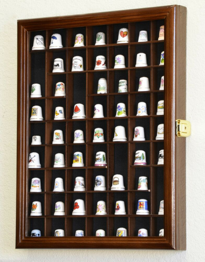 59 Thimble Small Miniature Display Case Cabinet Holder