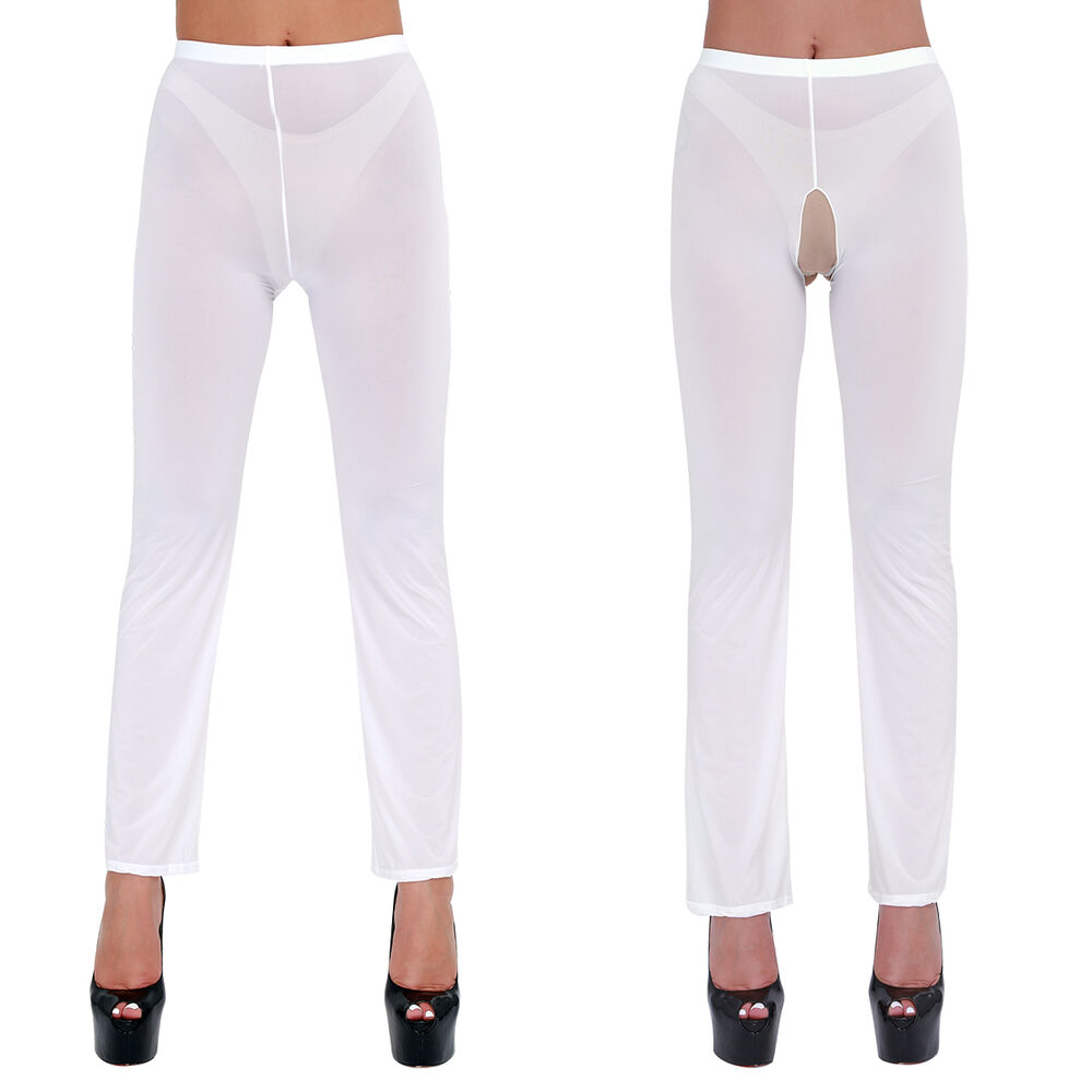 Details about Woman/Ladies Lingerie See-Through Crotchless Long Trousers  Pants Legging Sheer