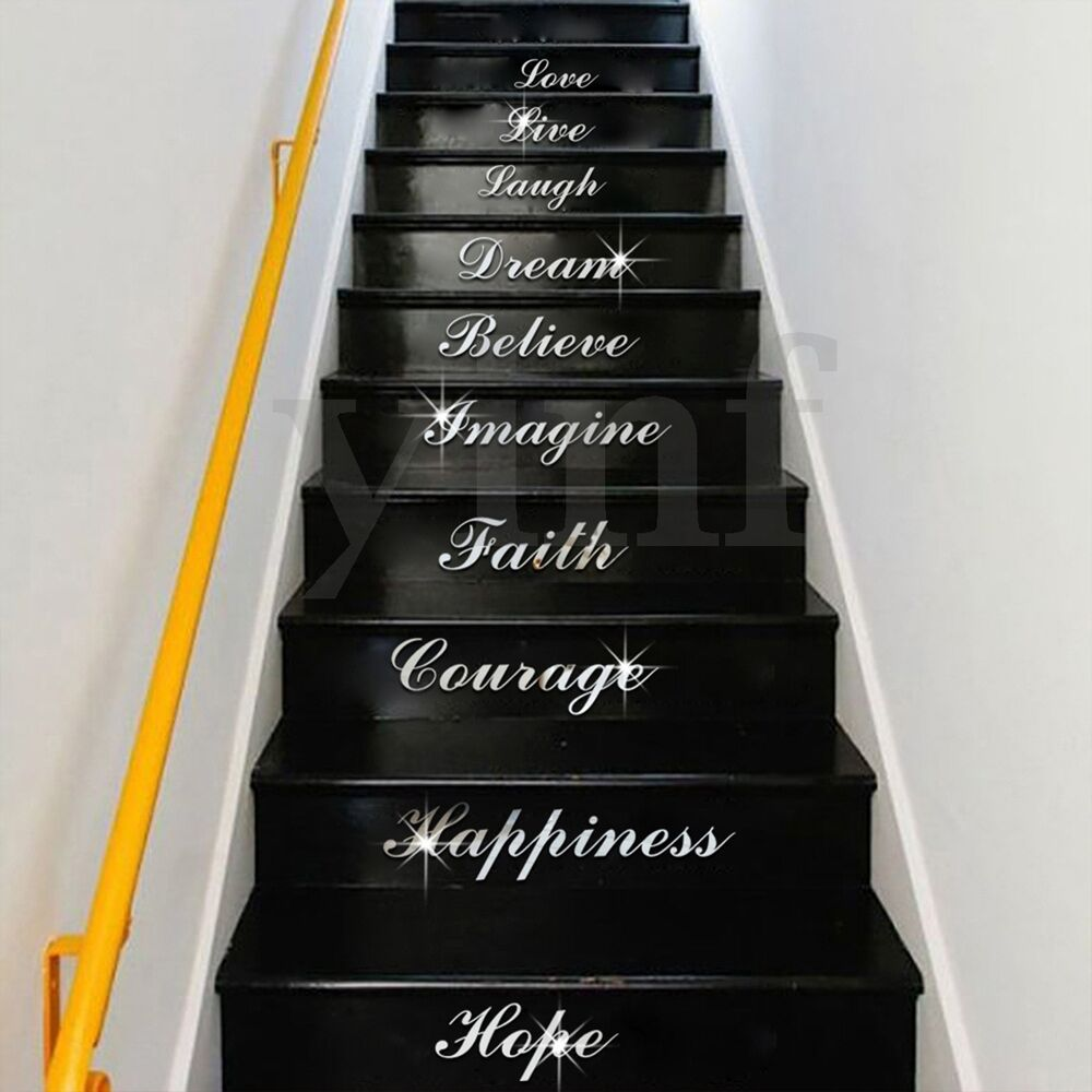 acrylic silver mirror effect quote word art stair decals wall sticker home decor ebay. Black Bedroom Furniture Sets. Home Design Ideas
