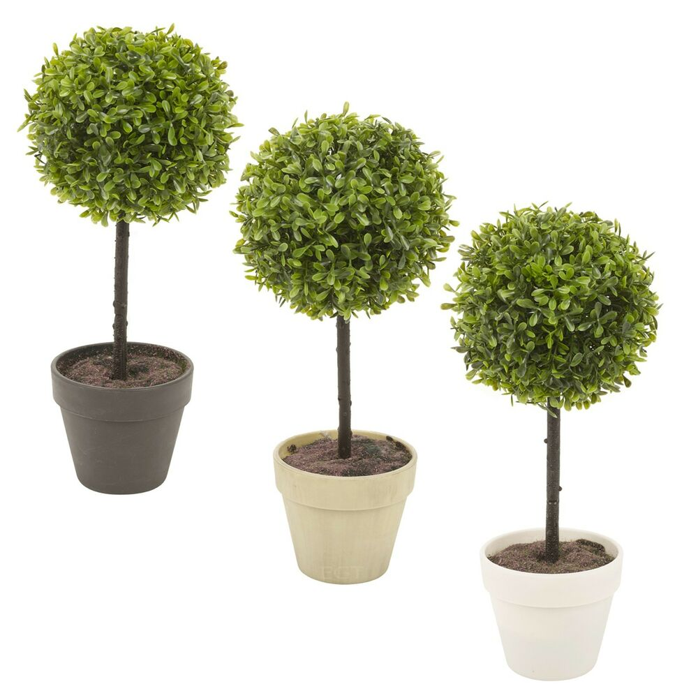 potted buxus box ball plant decorative artificial indoor outdoor garden pot new ebay. Black Bedroom Furniture Sets. Home Design Ideas