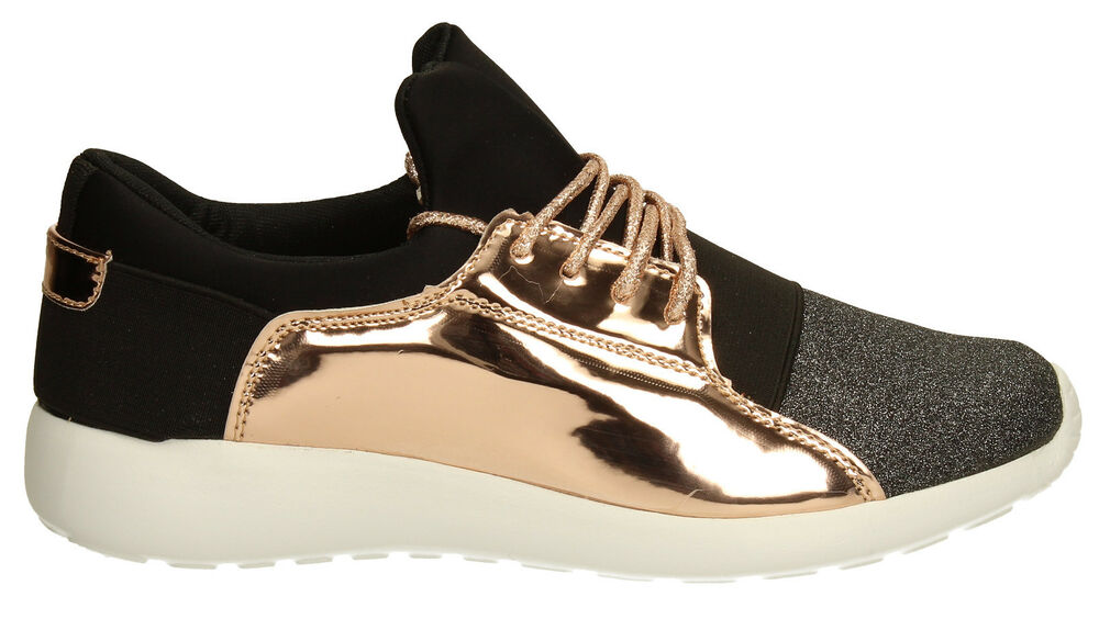 e2a4a794e294 Details about Womens Girl Rose Gold Designer Black Lace up Wedge Trainers  athleisure Gigi wear