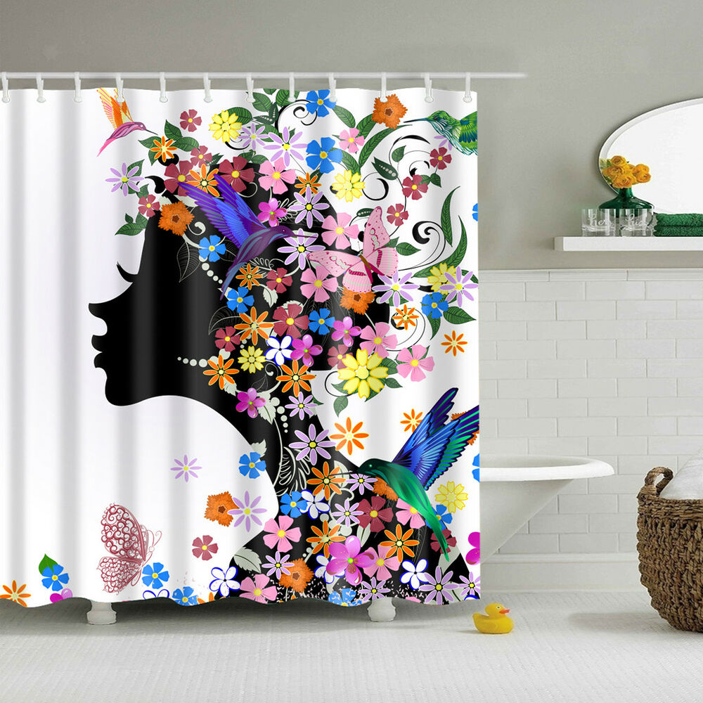 Details About Flower Girl Bathroom Shower Curtain Water Resistant Fabric Panel 12 Hooks
