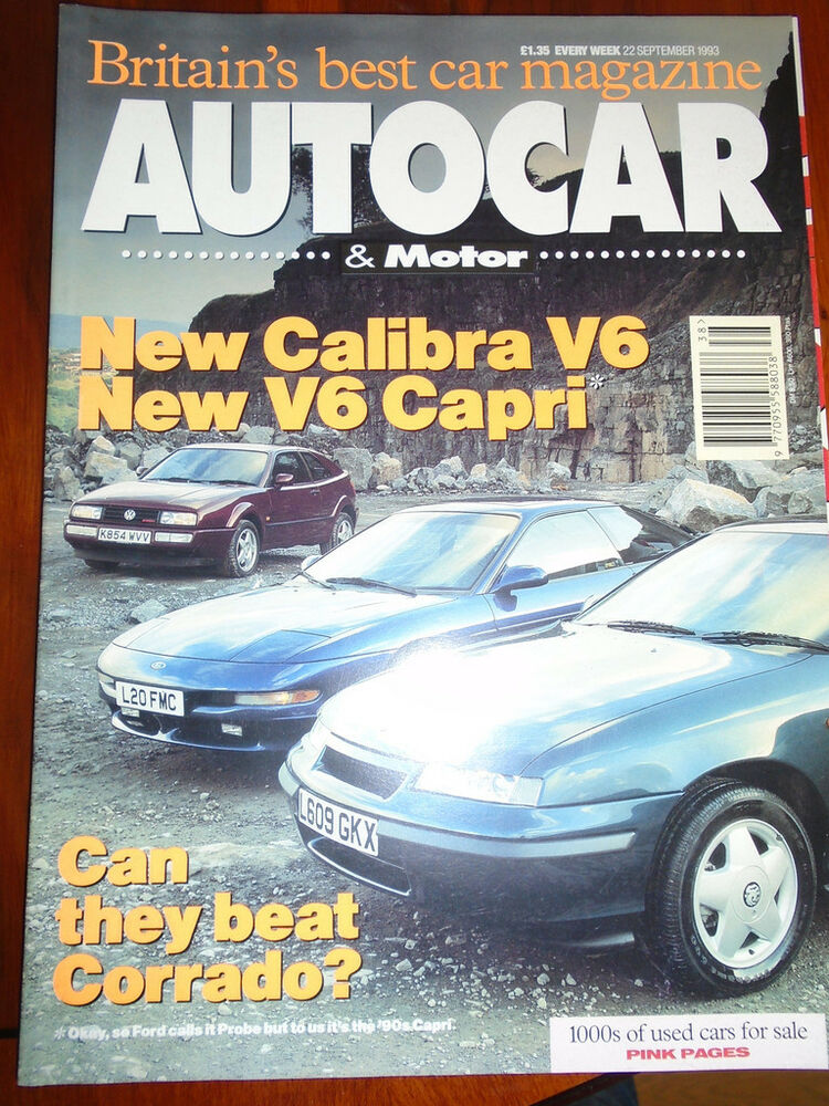 Autocar 22/9/94 Ford Probe GT vs Vauxhall Calibra V6 vs VW Corrado ...