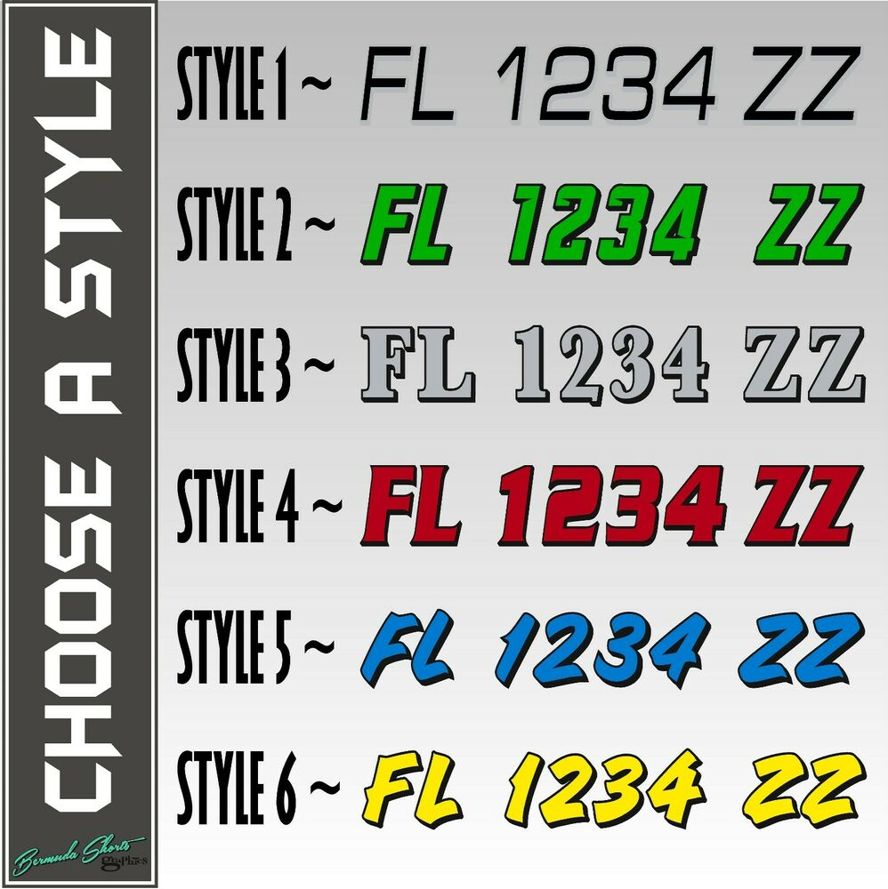 State boat registration numbers pair 20quot custom for Vinyl letter stickers for boats