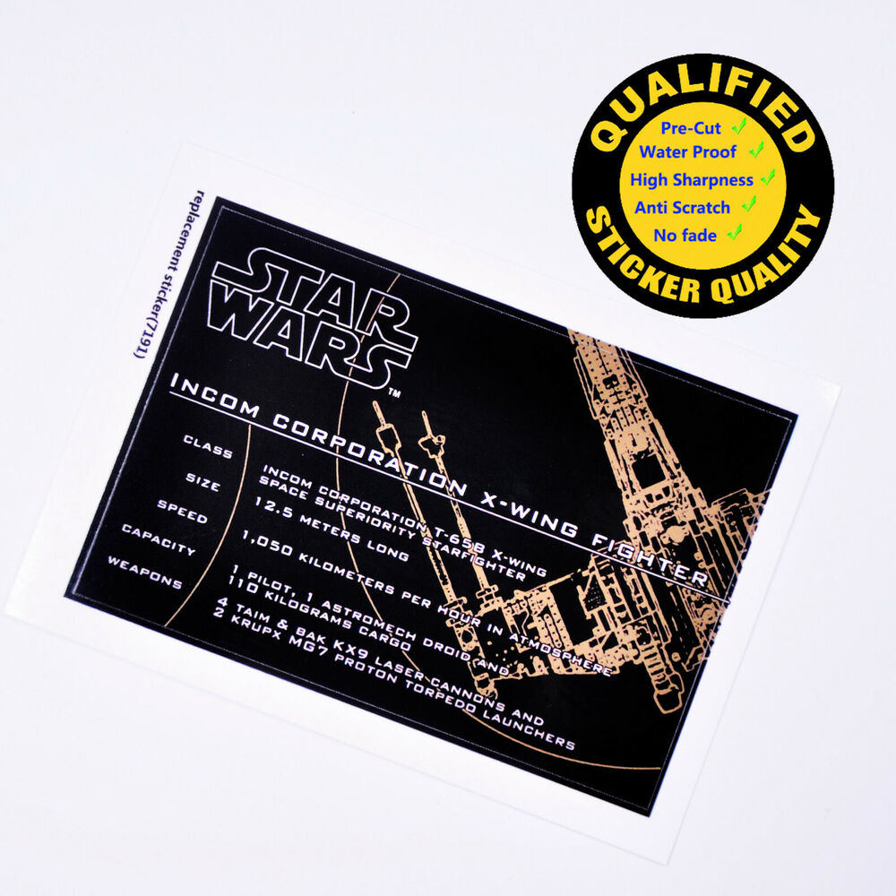 Details about custom sticker for lego 7191sheet 1 x wing fighter star wars