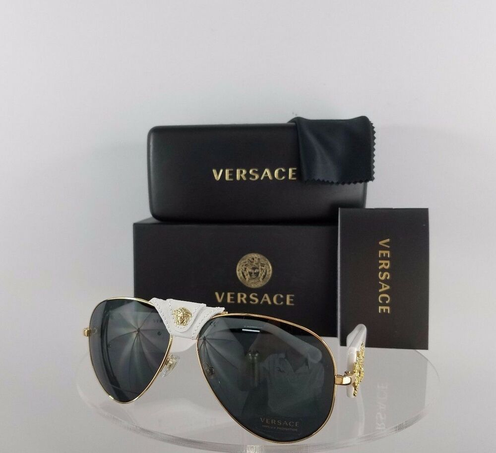 306b4f8352 Brand New Authentic Versace 2150 1341 87 White Gold leather Frame 2150-Q