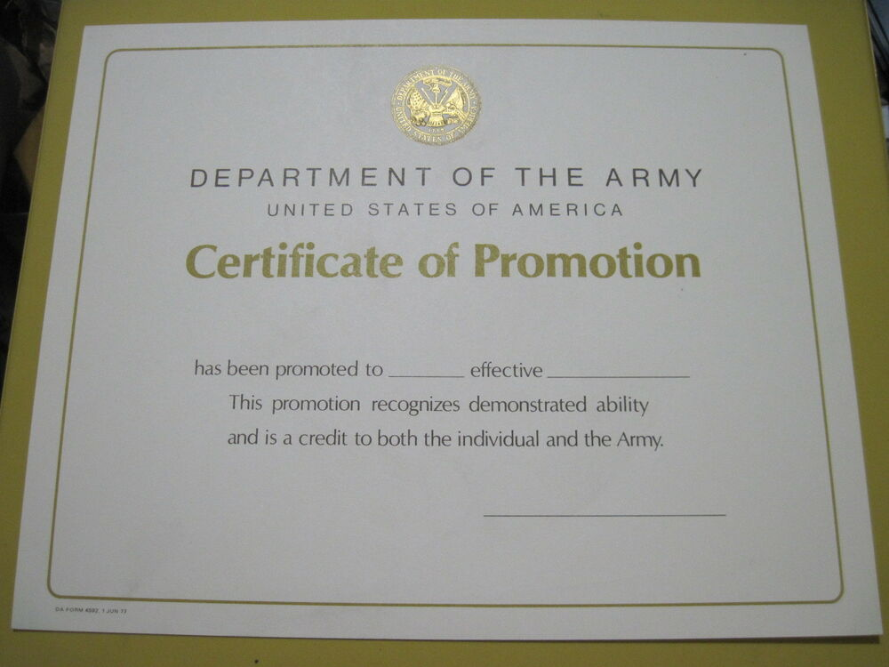 Department Of Army Civilian Promotion Certificate Blank Embossed