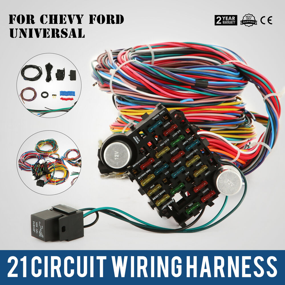 21 Circuit EZ Wiring Harness Chevy Universal Extra Ford Install – Ez Wiring 21 Circuit Fuse Box