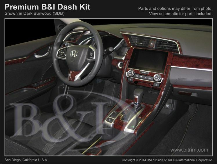 Details About Wood Grain Dash Kit For Honda Civic 2dr Coupe 2016 2017 Deluxe