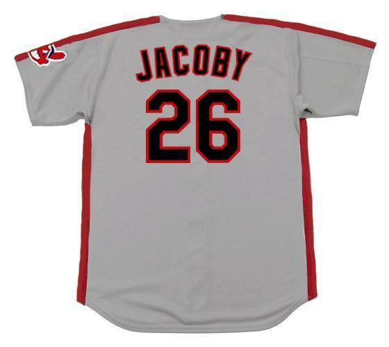 497521c56 BROOK JACOBY Cleveland Indians 1990 Majestic Throwback Away Baseball Jersey