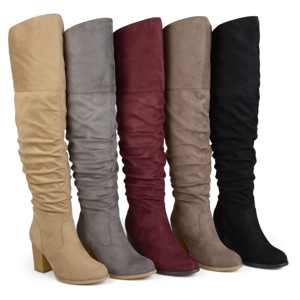 cbfdf1cb025 Details about Brinley Co Womens Regular and Wide Calf Faux Suede Ruche Over  the knee Boots New