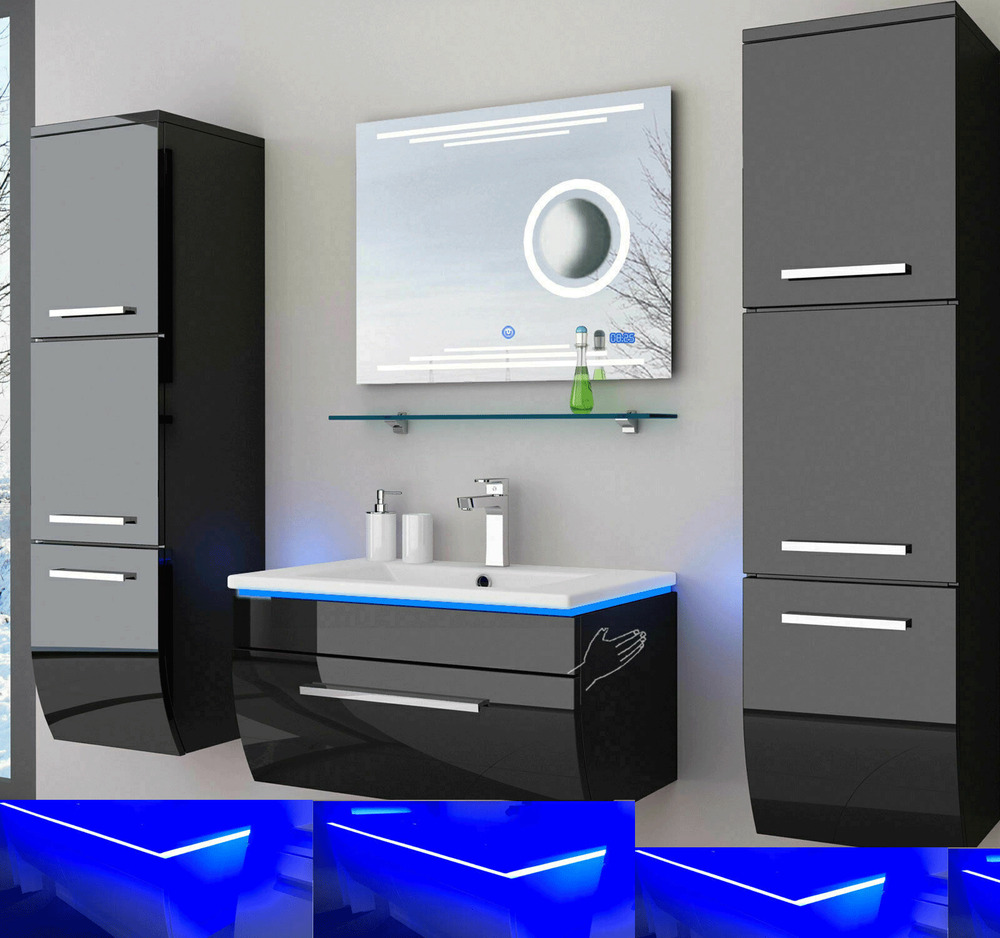 badm bel set schwarz weiss hochglanz kosmetik badezimmerm bel 6teilige led uhr ebay. Black Bedroom Furniture Sets. Home Design Ideas