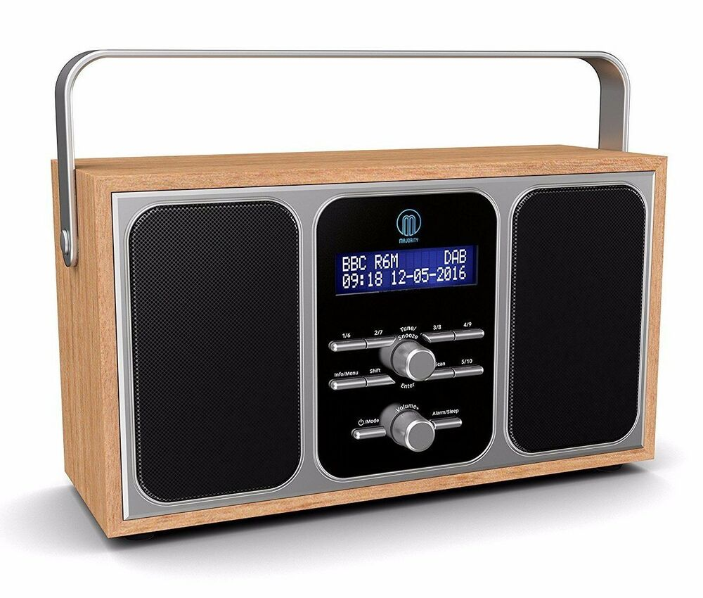 majority girton stereo dab fm digital portable radio with alarm clock wooden ebay. Black Bedroom Furniture Sets. Home Design Ideas