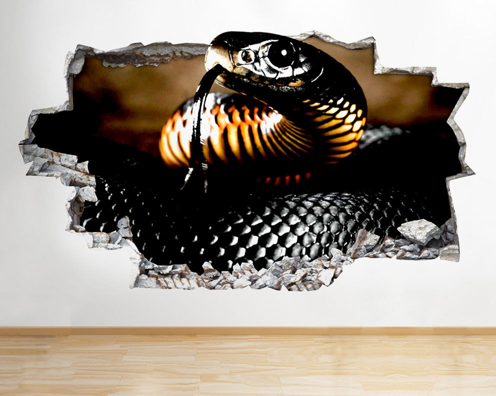 wall stickers black snake animal reptile smashed decal 3d art vinyl