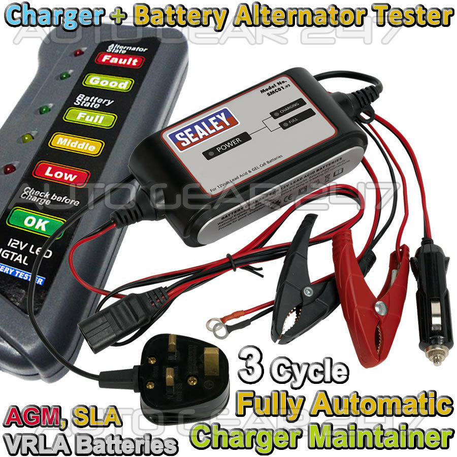 12v 2a Car Van 3 Cycle Automatic Battery Charger Maintainer Switching For Batteries Sealed Leadacid Vrla Sealey Compact Auto Maintenance Crocodile Clip Smc01