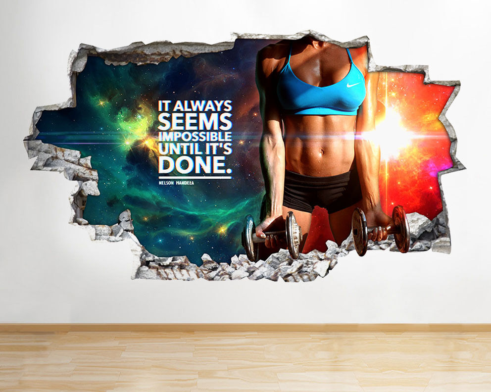 wall stickers gym motivation fit exercise smashed decal 3d art vinyl