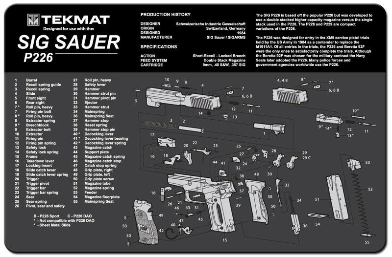 Sig Sauer P226 Armorers Gun Cleaning Bench Mat Exploded