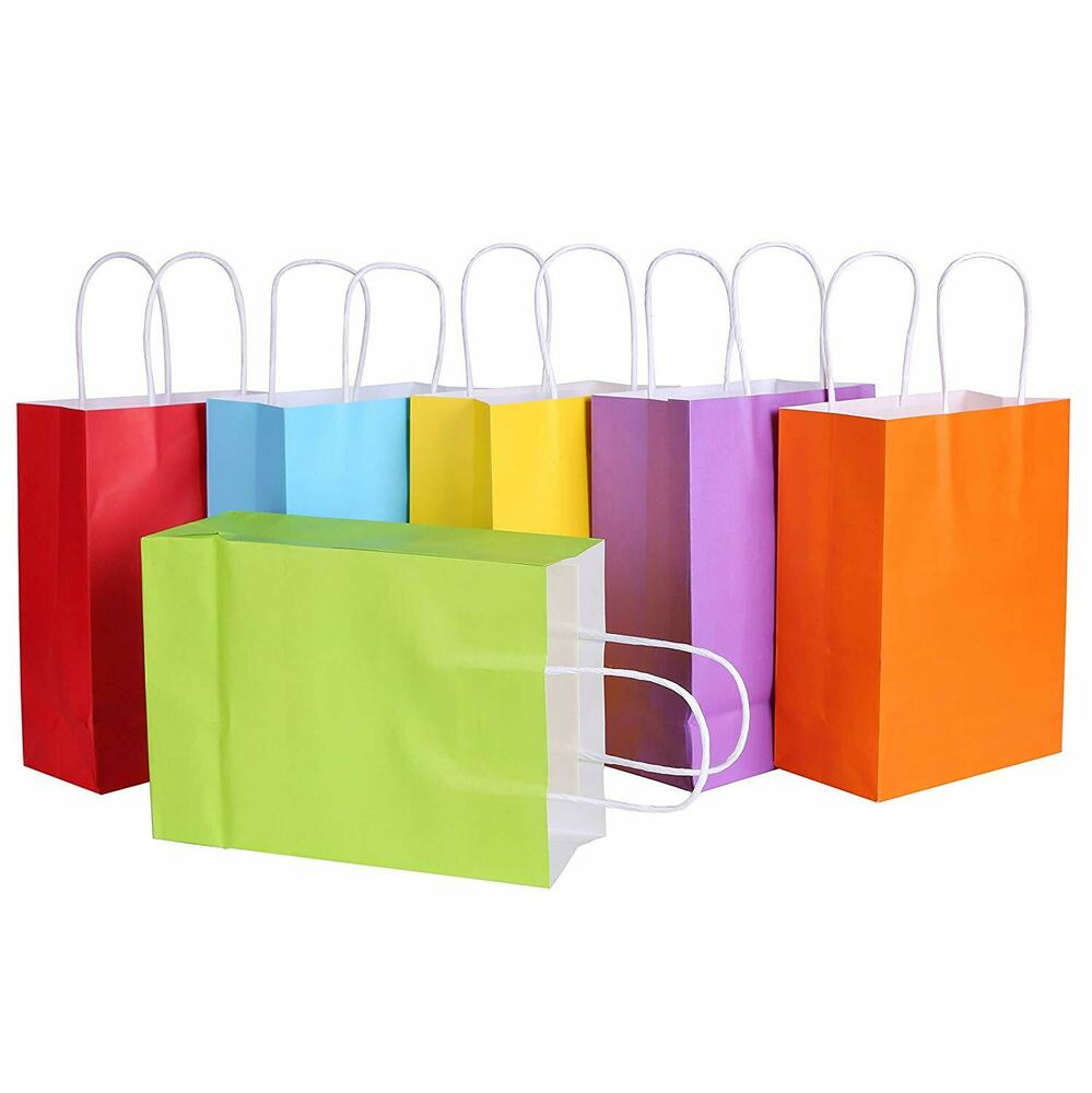 Small Color Kraft Paper Bags Gift Bags Solid Matte Colors