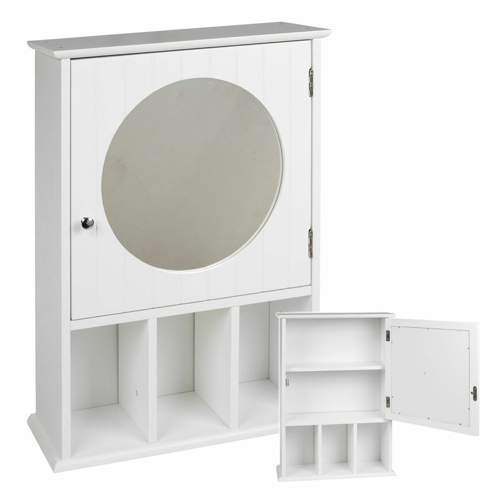 White wooden wall mounted mdf bathroom mirror cabinet cupboard door storage unit ebay for Bathroom mirror cupboard