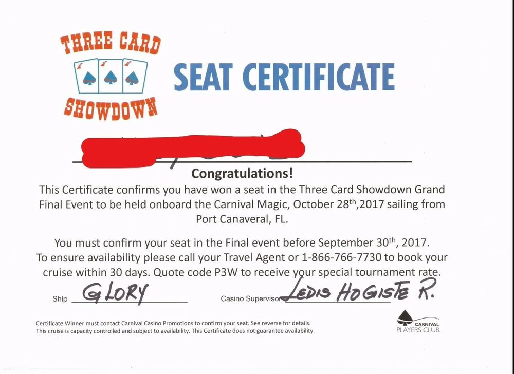 Carnival Cruise Line Poker Three Card Showdown Grand Finale Event
