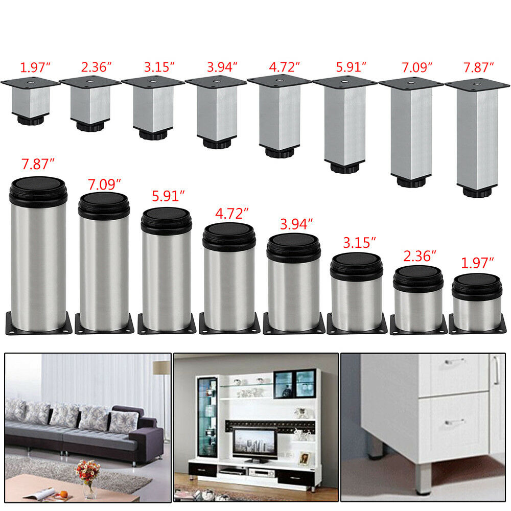 4X Stainless Steel Kitchen Cabinet Leg Square / Round Sofa Furniture Feet Base