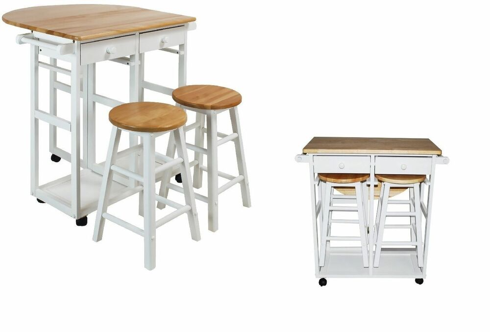 kitchen island table wood set cart portable rolling bar drop leaf with 2 stools ebay. Black Bedroom Furniture Sets. Home Design Ideas