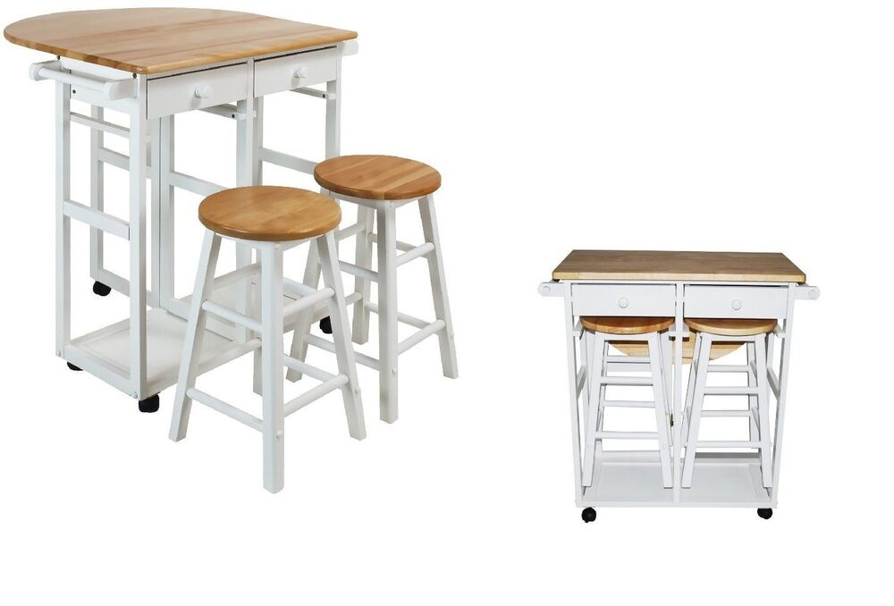 Kitchen Island Table Wood Set Cart Portable Rolling Bar Drop Leaf With 2 Stools Ebay