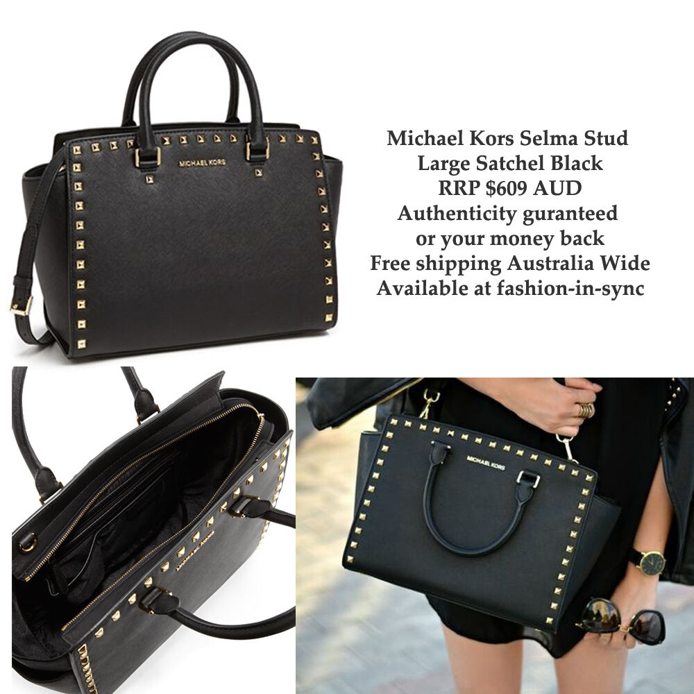 0a7a3563054c7 Details about Michael Kors Selma Stud Black Leather Large Satchel Crossbody  Dustbag RRP  609