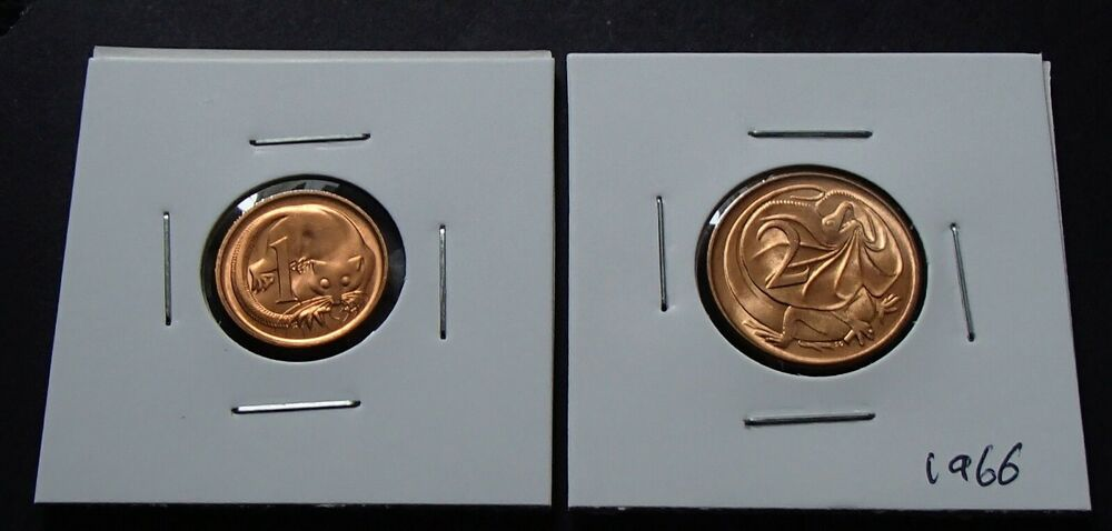 1974 Australia Uncirculated One 1 /& Two 2 Cent Coins Elizabeth II Ex RAM Roll