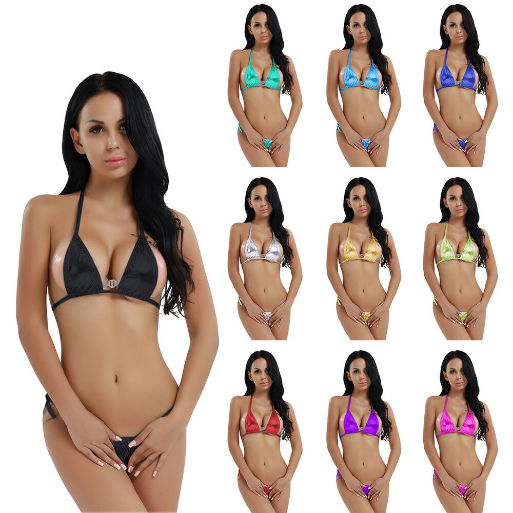 women 39 s brazilian mini top bra bottom micro thong g string bikini swimwear suit ebay. Black Bedroom Furniture Sets. Home Design Ideas