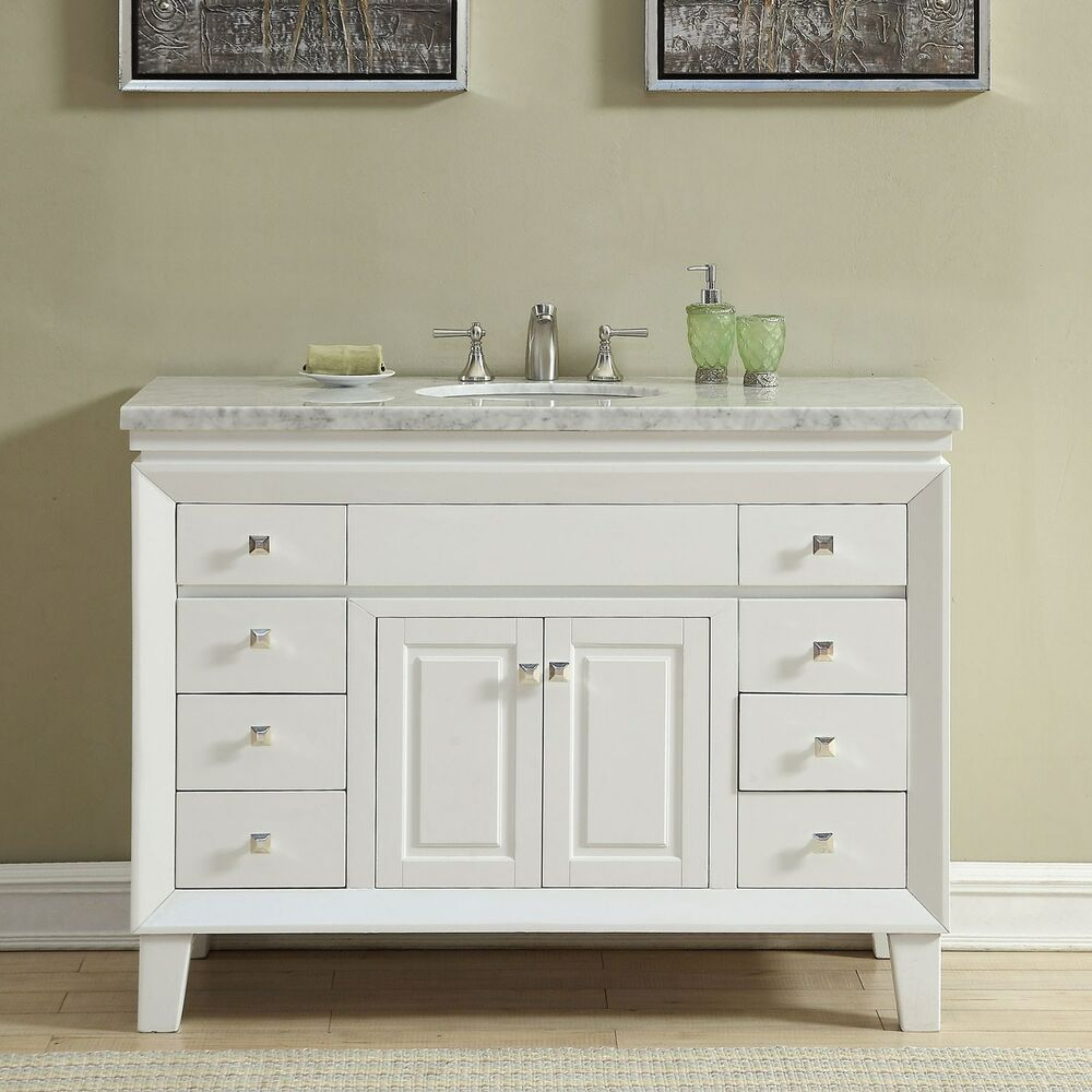 48 inch off white carrara marble top bathroom vanity single sink cabinet 0318w 609224901768 ebay. Black Bedroom Furniture Sets. Home Design Ideas