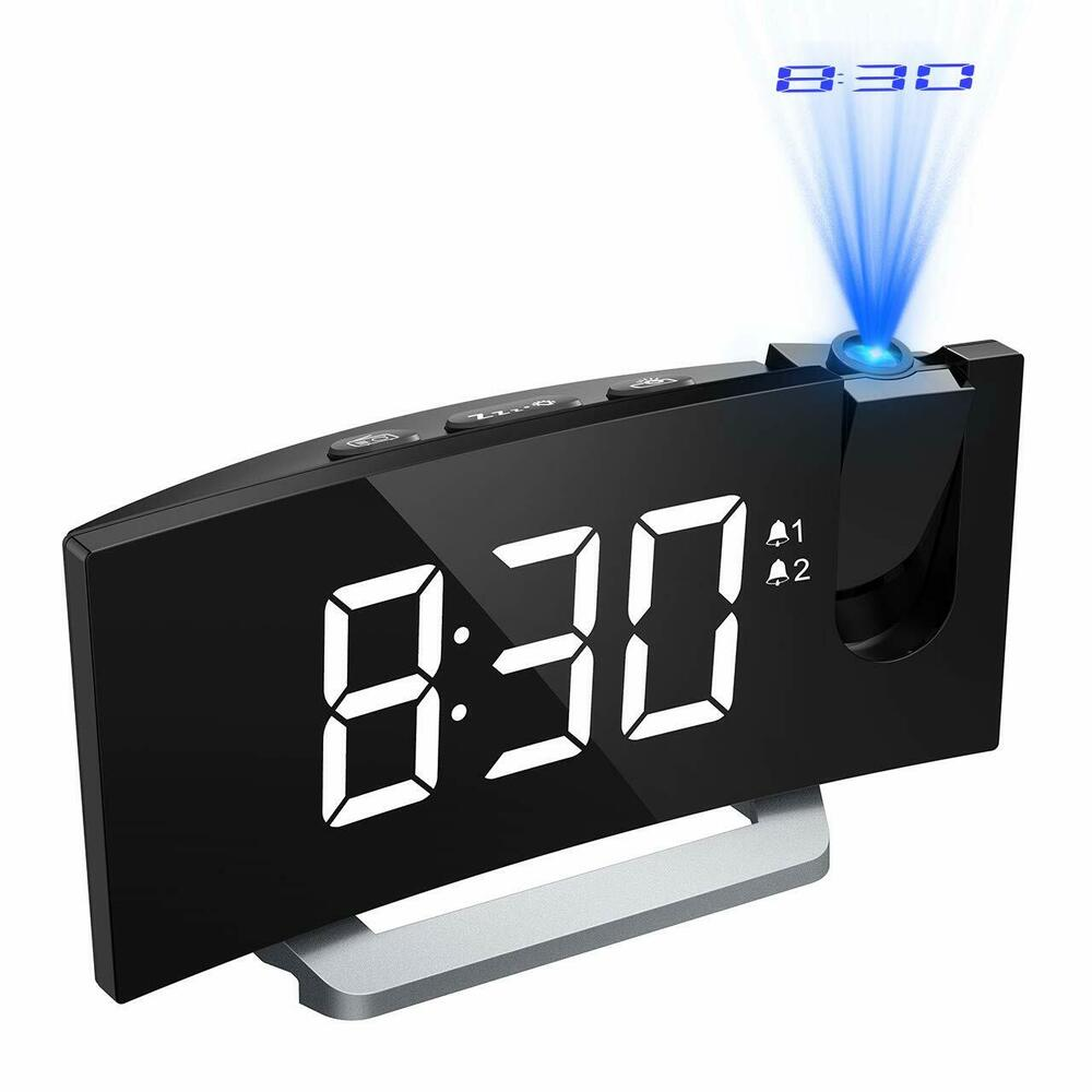 Mpow Projection Alarm Clock Fm Radio Alarms Digital Ceiling Usb Charging Port Uk