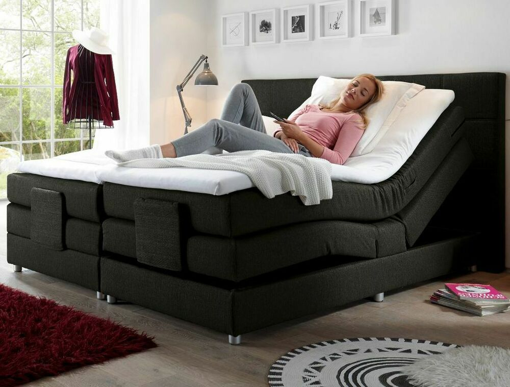 manolo elektrisches motor boxspringbett 180x200cm ehebett bett schwarz ebay. Black Bedroom Furniture Sets. Home Design Ideas