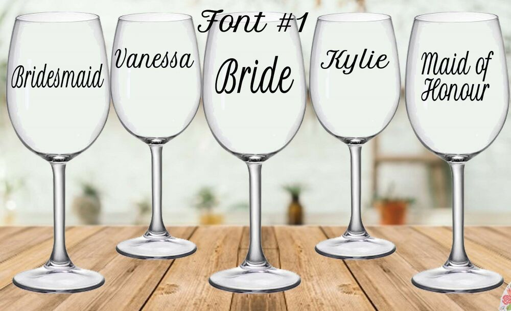 85d6e0c37e8 Details about Personalised Wedding Wine/Champagne Glass Decal Sticker (each)