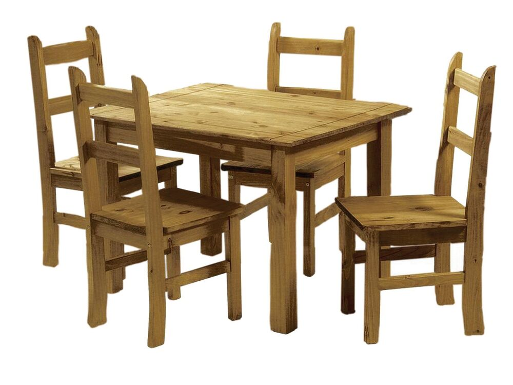 Mexican Pine Dining Table And 4 Chairs Corona Budget Dining Set Solid Wood 5036464035741 Ebay