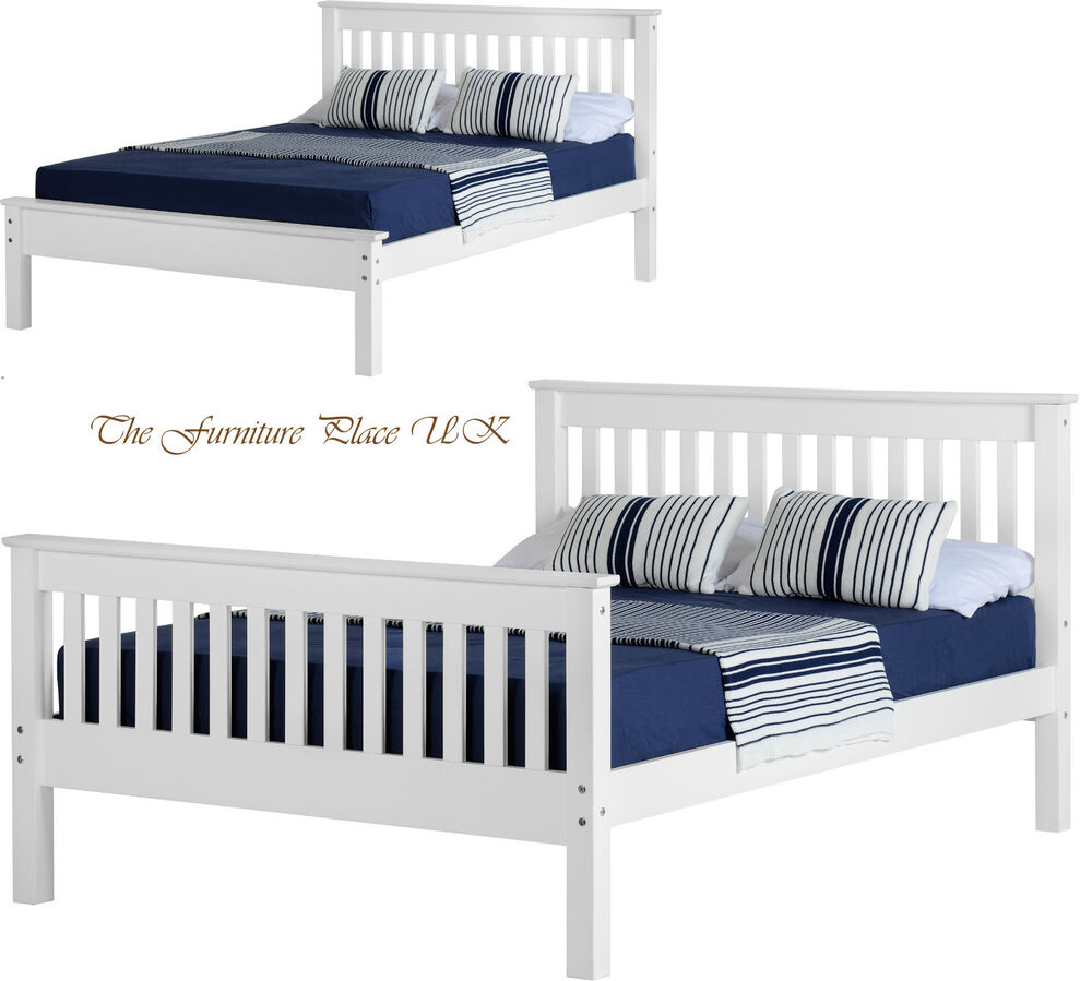 Details About Monaco 5ft King Size Low Or High End Bed Frame In White Free Delivery
