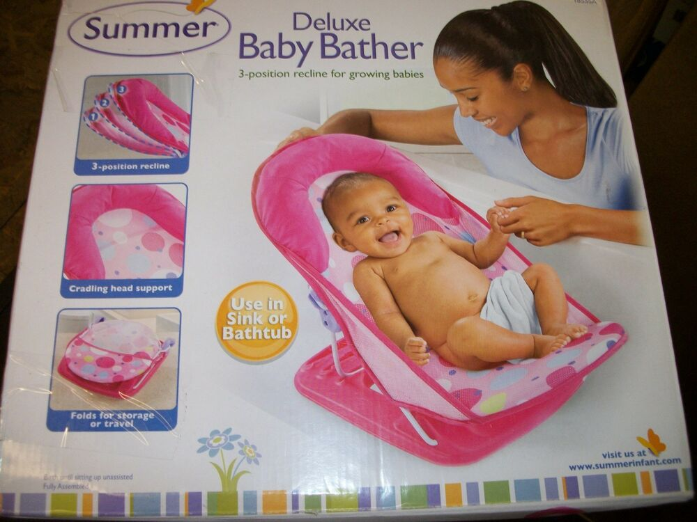 Summer Infant Deluxe Baby Bather Pink Dots New In Box 8157383129049 ...