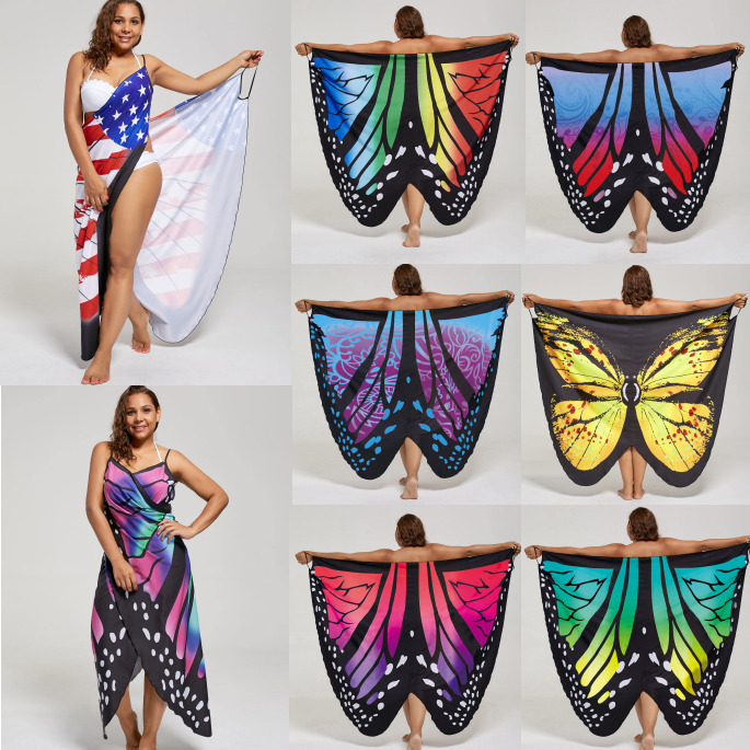 e0ce5b70ab049 Details about New Plus Size XL-5XL Women Summer Butterfly Wrap Swimwear  Beach Cover Up Dress