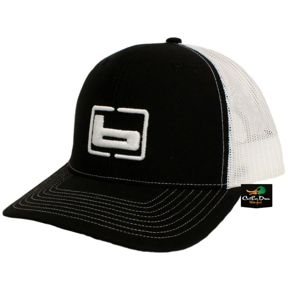 3d3ba62239b45 Details about NEW BANDED TRUCKER CAP MESH BACK HAT BLACK AND WHITE W