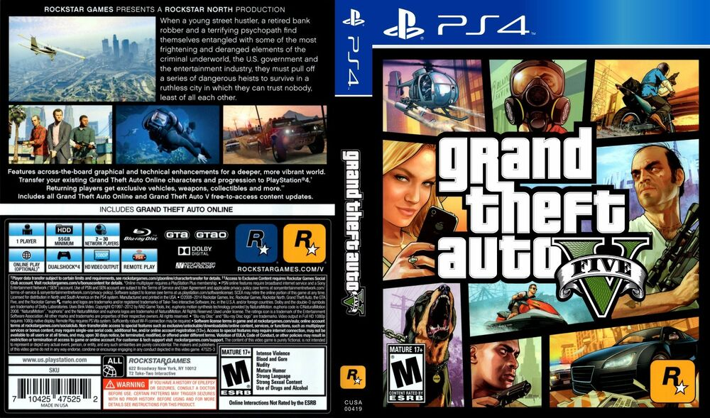 Gta 6 Cover: GTA V PS4 Replacement Box Art Case Insert Inlay Cover Scan