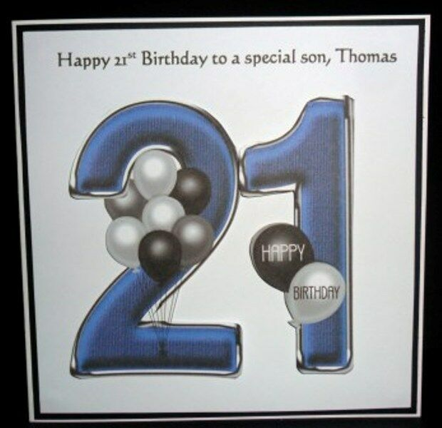 Details About Personalised Handmade Balloons 21st Birthday Card Son Grandson Godson Nephew