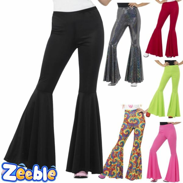 Ladies 1960s Flared Trousers Fancy Dress Bell Bottoms Disco Flares 1970s