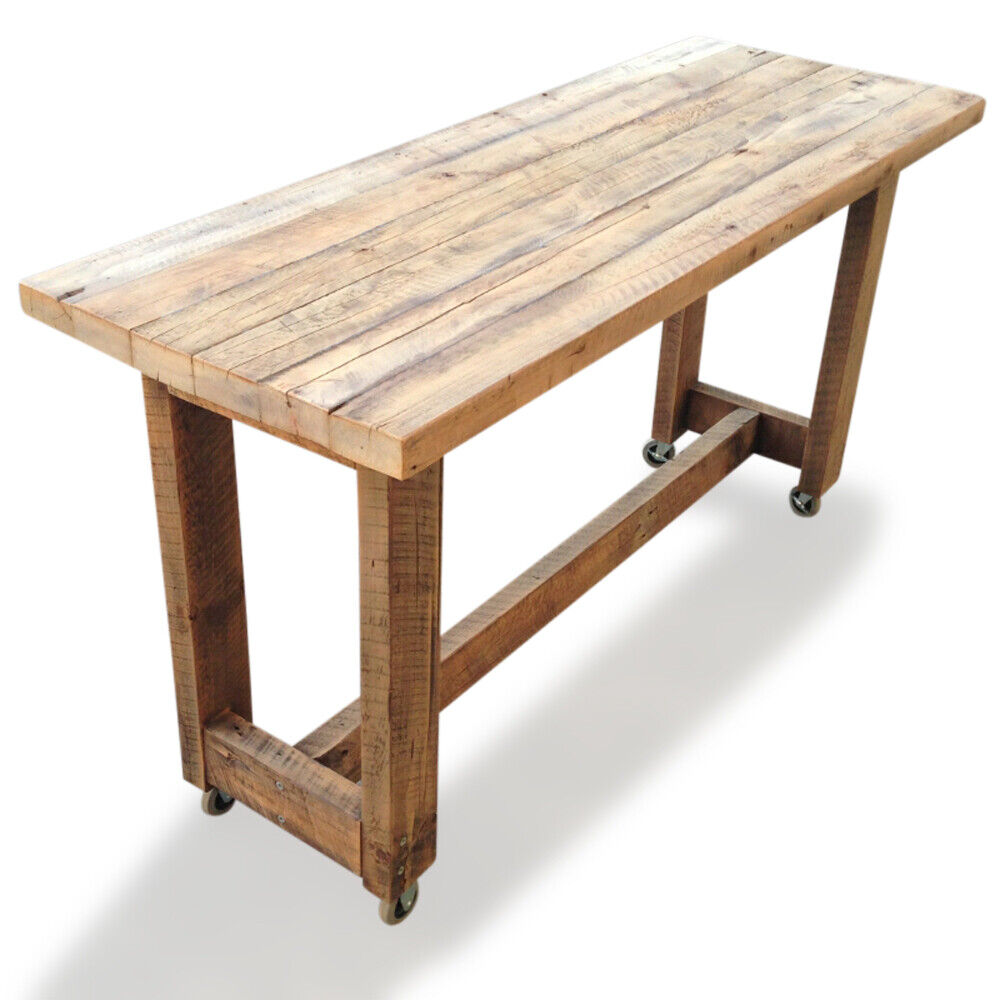 Rustic Wooden High Bench Bar Table Mobile Kitchen Island 6 ...