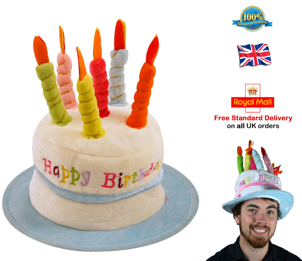 Details About HAPPY BIRTHDAY HAT Cake Hat Candle Adult Mens Boys One Size BLUE