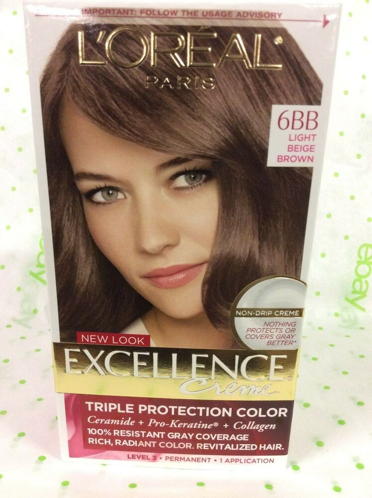 Loreal Excellence Crme Hair Color 6bb Light Beige Brown New Ebay